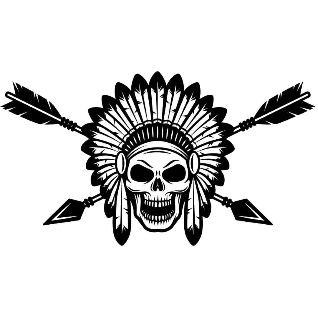 Indian Logo 1 Native American Warrior Skull Axe Headdress