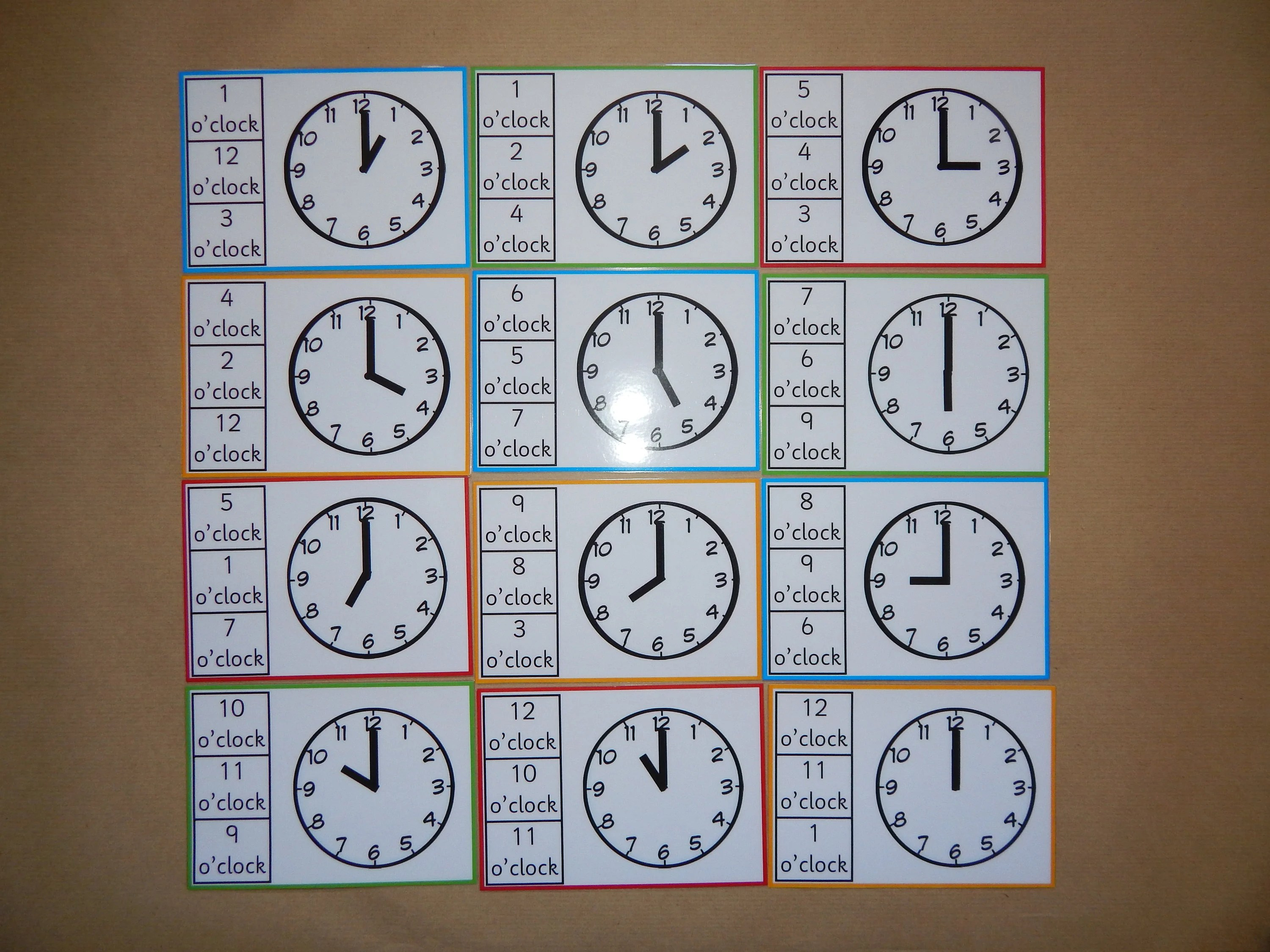 Telling The Time Clip Cards O Clock Peg Cardsclock
