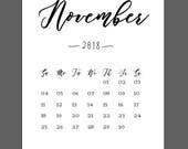 November Calendar 2018 Pr...
