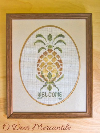Vintage Cross Stitch: Finished Framed Matted Pineapple Welcome From 1985