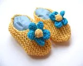 Bright Yellow With Turquoise Flowers Knitted Baby Slippers