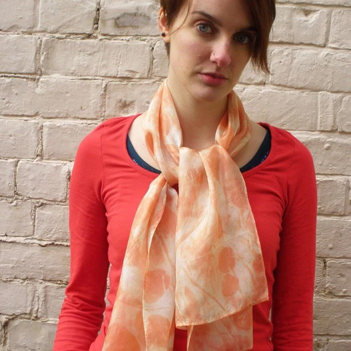 SALE SAVE 35% Peach and Cream Naturally Dyed Eucalyptus Printed Long Silk Scarf, Womens Organic Spring Accessory