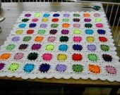 CROCHET BLANKET -  SUN STYLE MULTI COLOUR CENTRES WITH WHITE BORDER 658