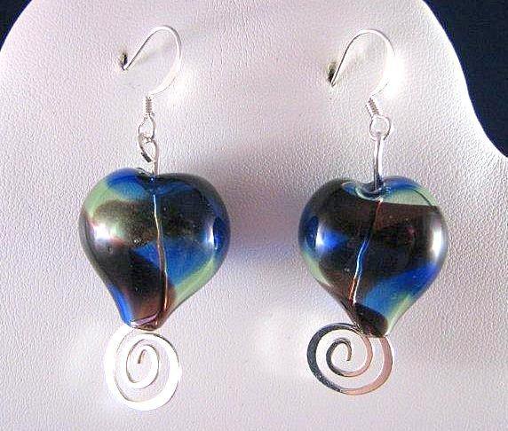 A Blue Blue Heart Earrings lampwork swirls design by jewelrybyjg on Etsy