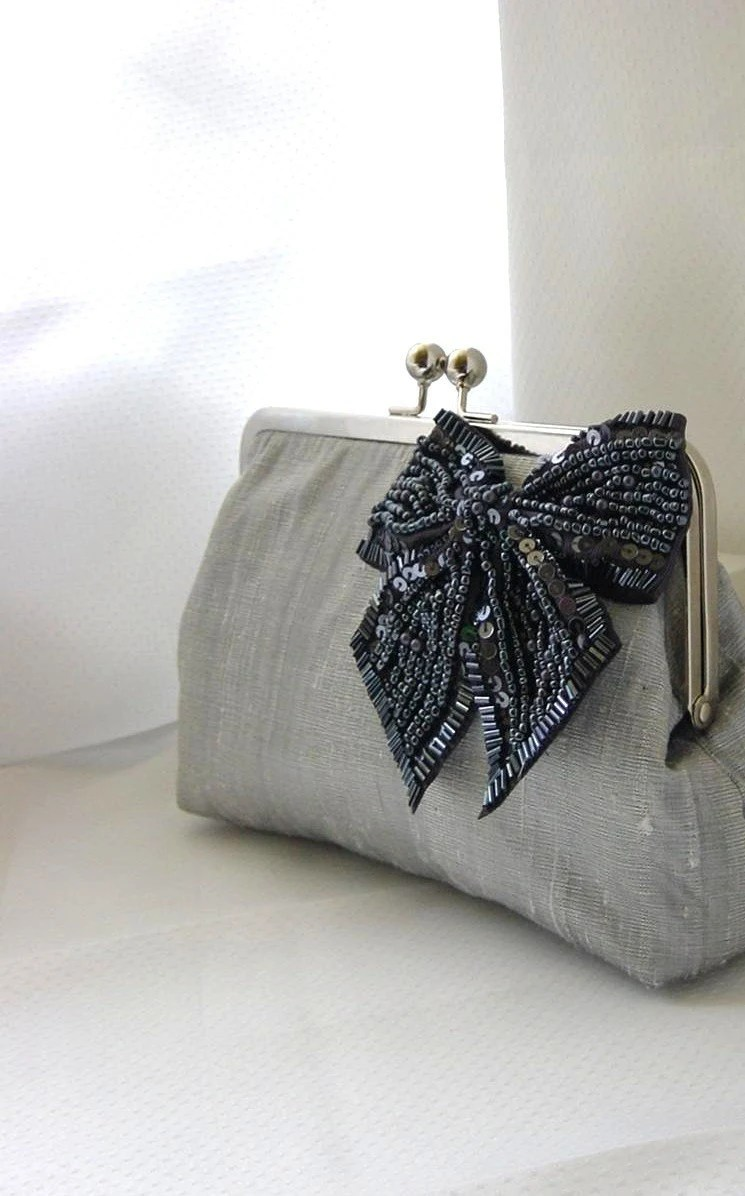 Grey Silk Clutch with Beaded Bow for Brides - Natalie