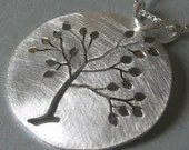 Reversible Round Leafy Silver Tree Pendant