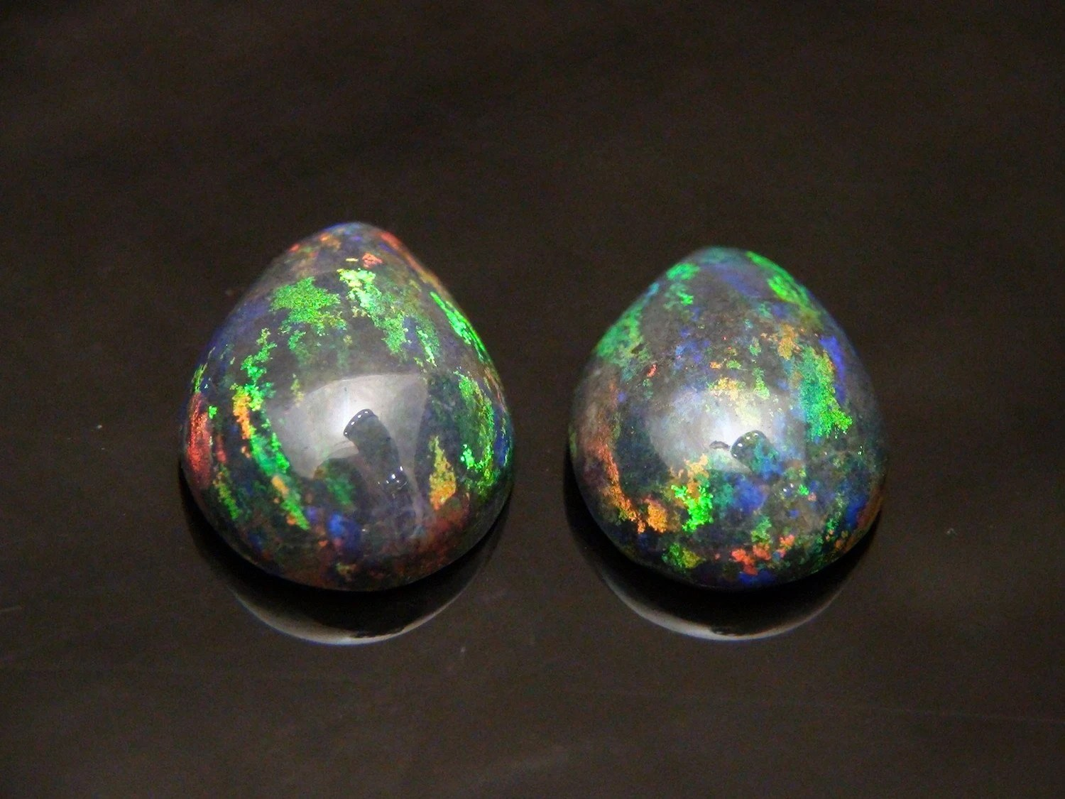 Black Opals - A RARE Pair of Vintage Matching Pear Shaped Cabochon Cut Genuine Australian Gemstones