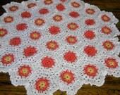 New handmade Hexigan Granny design orange/yellows colour Crochet Blanket  664