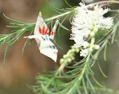 Origami Crane Broach - Silver, Red and Blue