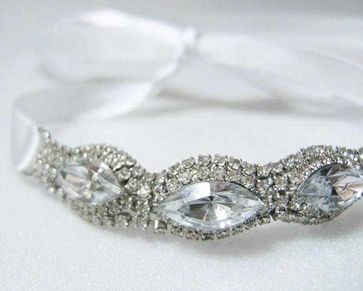 GRACE-Cuff Bracelet of Rhinestones and Crystals with Satin Ribbon,Wedding,Bridal,necklace,headband