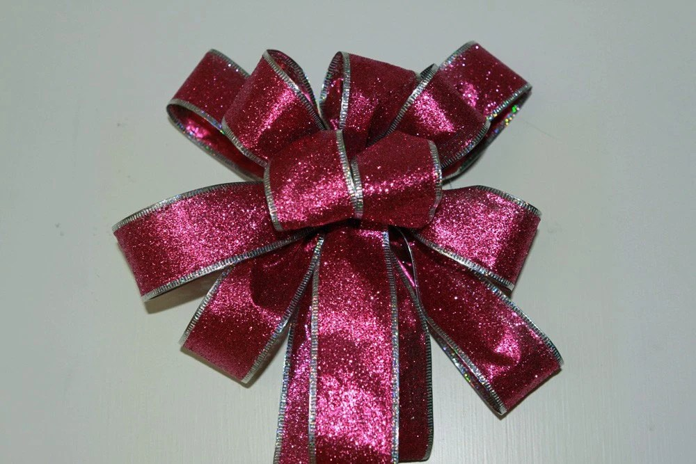 Pink Glitter Bows Set of 2