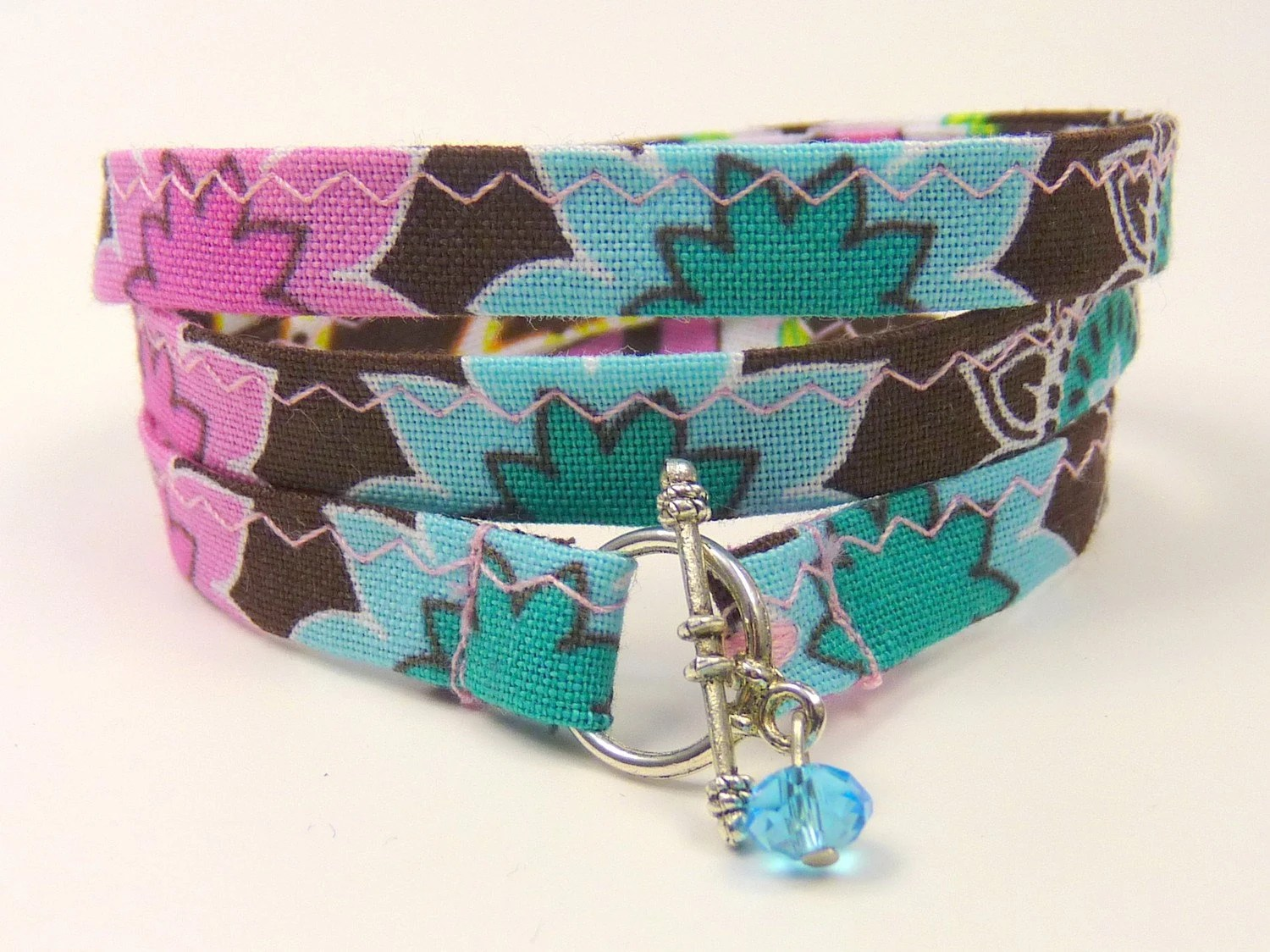 HIPPIE - wrapped fabric Bracelet --- turquoise, pink, brown --- 20.5 inches, 52 cm