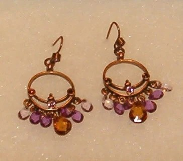 "Vintage Earrings, Copper Chandelier w Crystal Drops in Soft Colors 1.75""L"