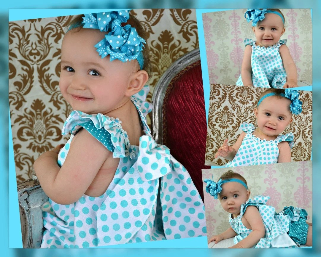 Childrens Spring Twirl Sundress & Ruffled Panties Newborn -  18 mos Aqua ta dots 2 piece