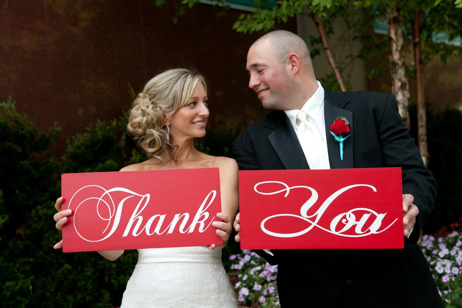 Wedding Signs in Red.. I Do & Me Too or Thank You 2 Sided signs U Pick... . Over 300 wedding signs in our shop.