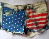 Vintage style American Flag Shorts uk Size 8 /27 waist