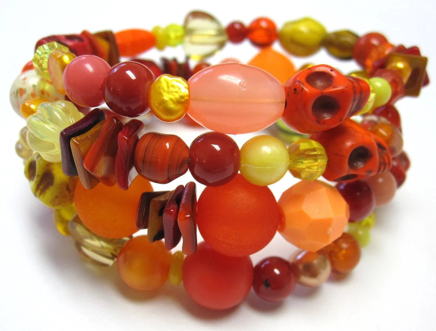 Tequila Sunrise - Day of the Dead Sugar Skull Cuff Bracelet