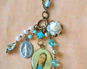 Blessed.... ooak antique rosary beaded religious Virgin Mary charm necklace