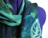 Green leaf silk long scarf - Hand acid dyed emerald
