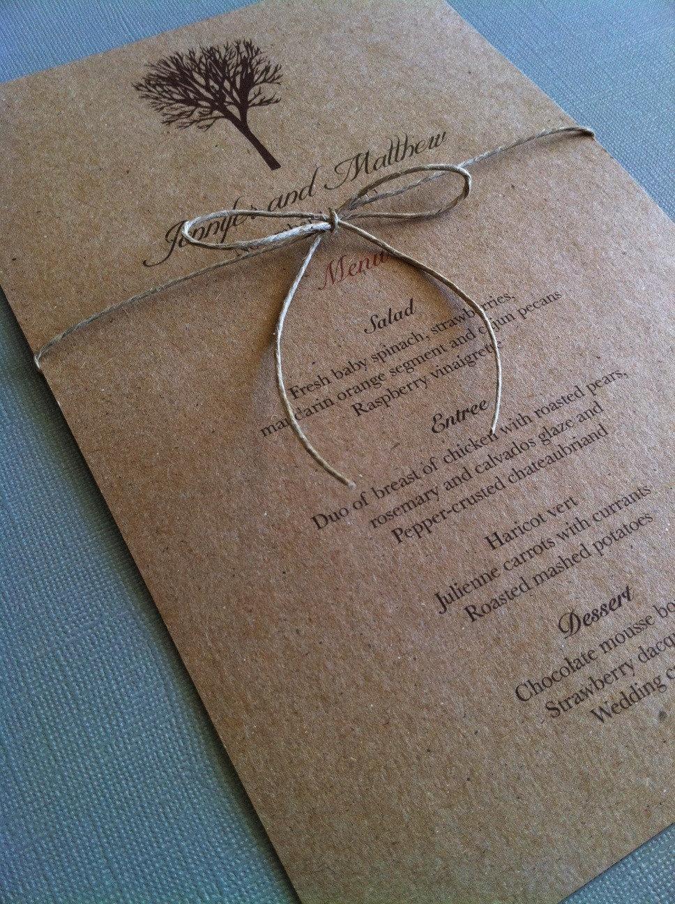 Rustic menu cards with hemp bow