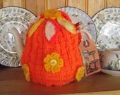 Hand Knitted  Tea Cozy  floral / oranges and lemons