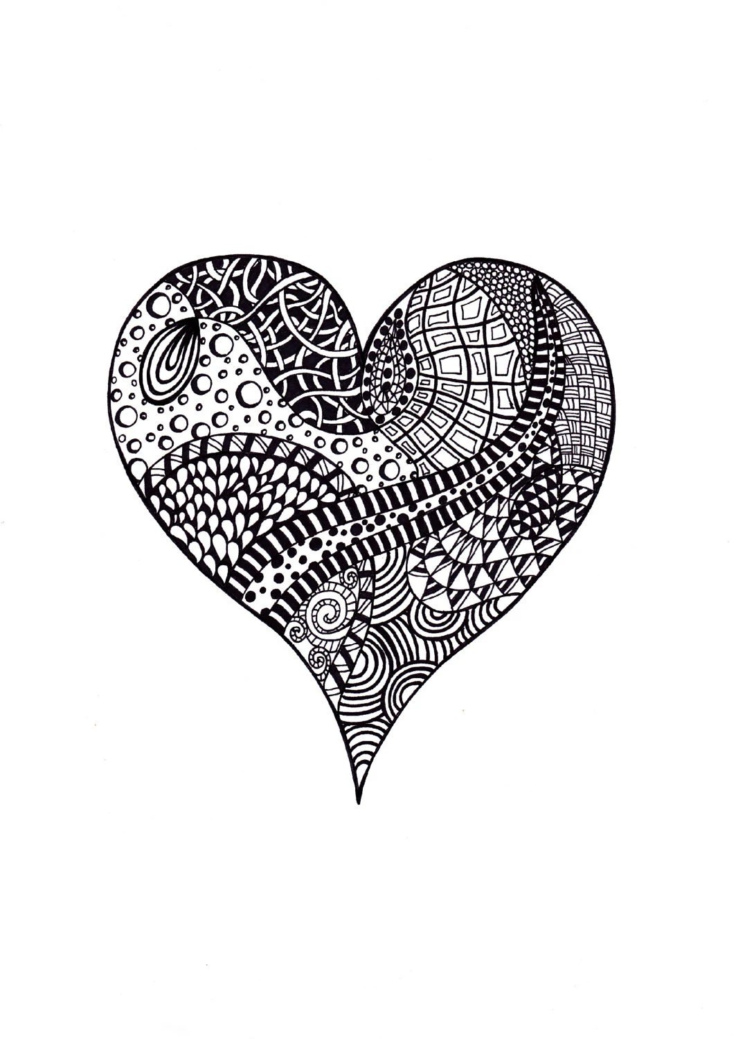 ACEO Print, Ink Drawing Heart Zentangle, Black and White