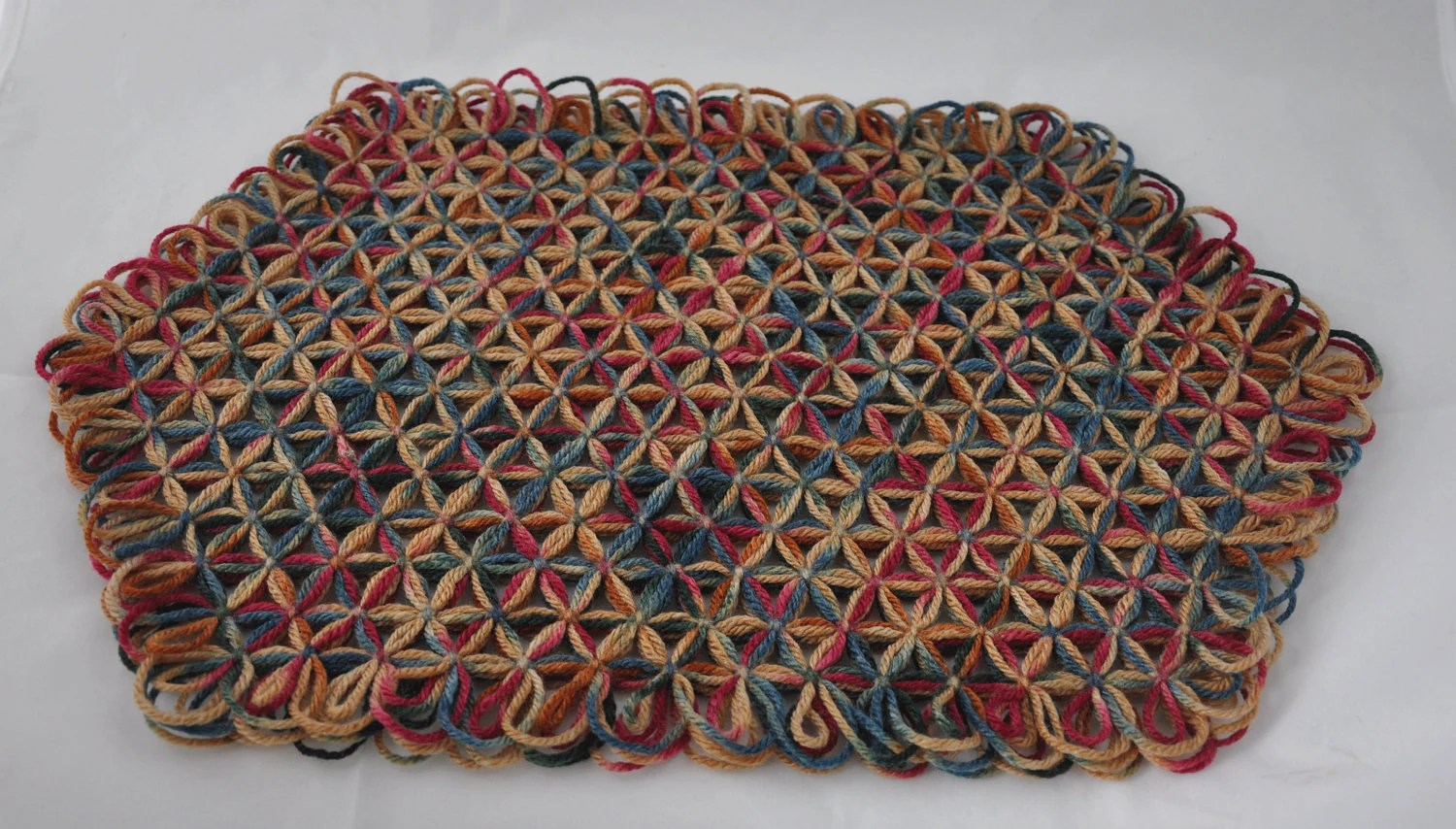 Large Trivet in 3 Layers of Bright Painted Desert Multicolored Yarn  - One Of A Kind (OOAK) Bright Fall Colors LAST ONE