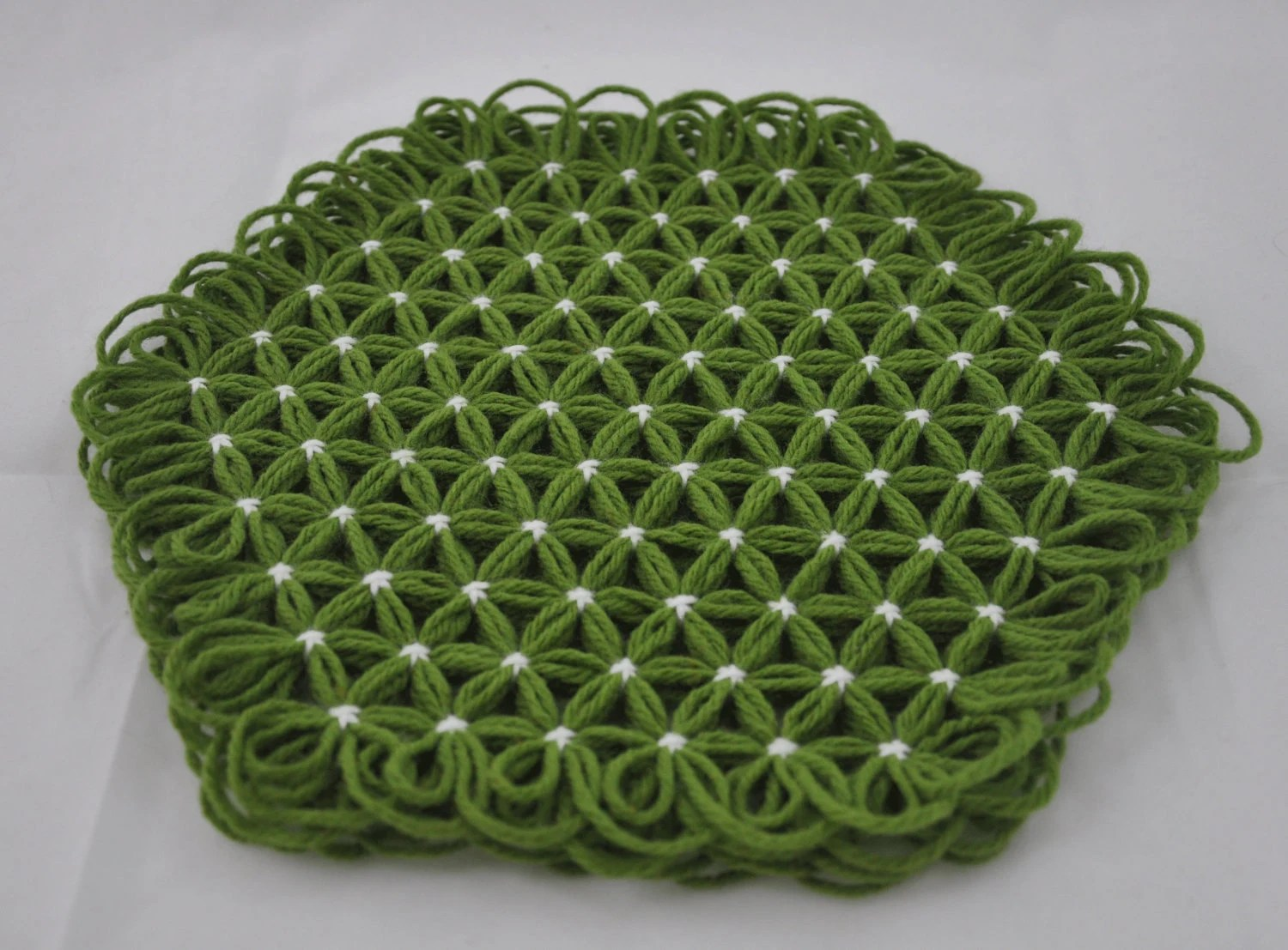 Small Trivet in 4 Layers of Lime Green Yarn with White Ties - Summer Margarita Colors