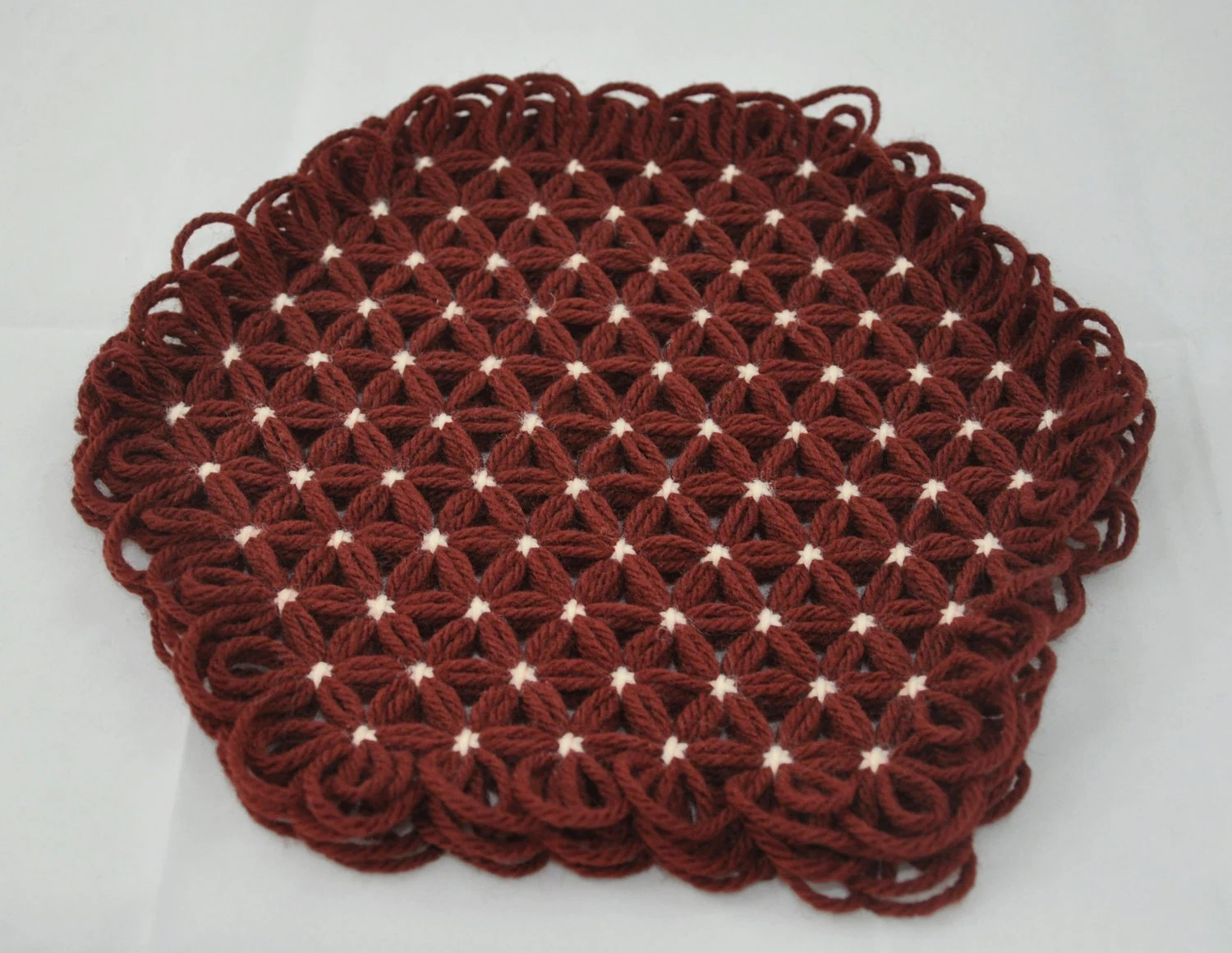 Small Trivet in 4 Layers of Brown Yarn with Cream Ties - Autumn Fall Colors