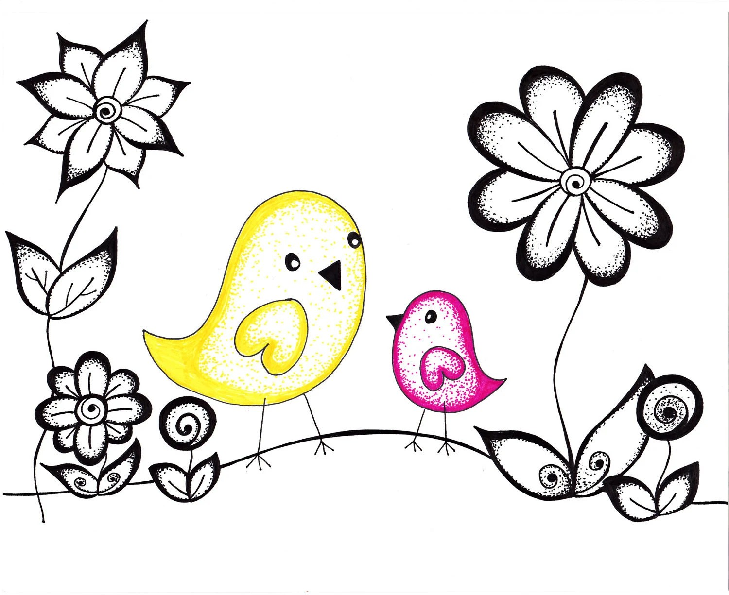 Printable Art, Ink Drawing Dotty Birds, Pink and Yellow