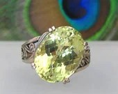 Prasiolite Ring Faceted Gemstone Lime Yellow 10.10ct Sterling Silver Size 7 - R150