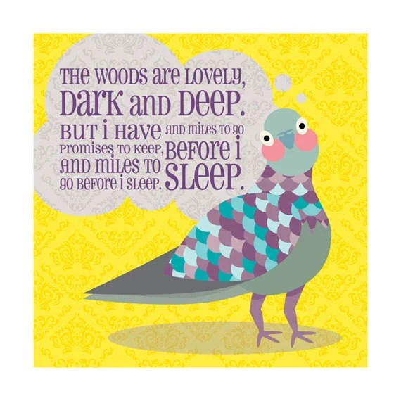 Children's Nursery Art Print 9x9: Pigeon Poem