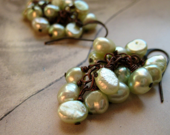 Pearl cluster dangle earrings, light green, on copper