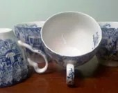 Blue Staffordshire style toile teacups 4 Made in England Prefect for Mother's Day