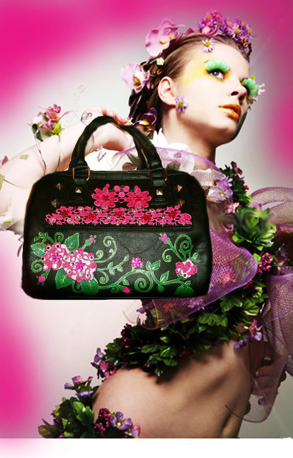 handpainted black purse pink green floral embroidery applique