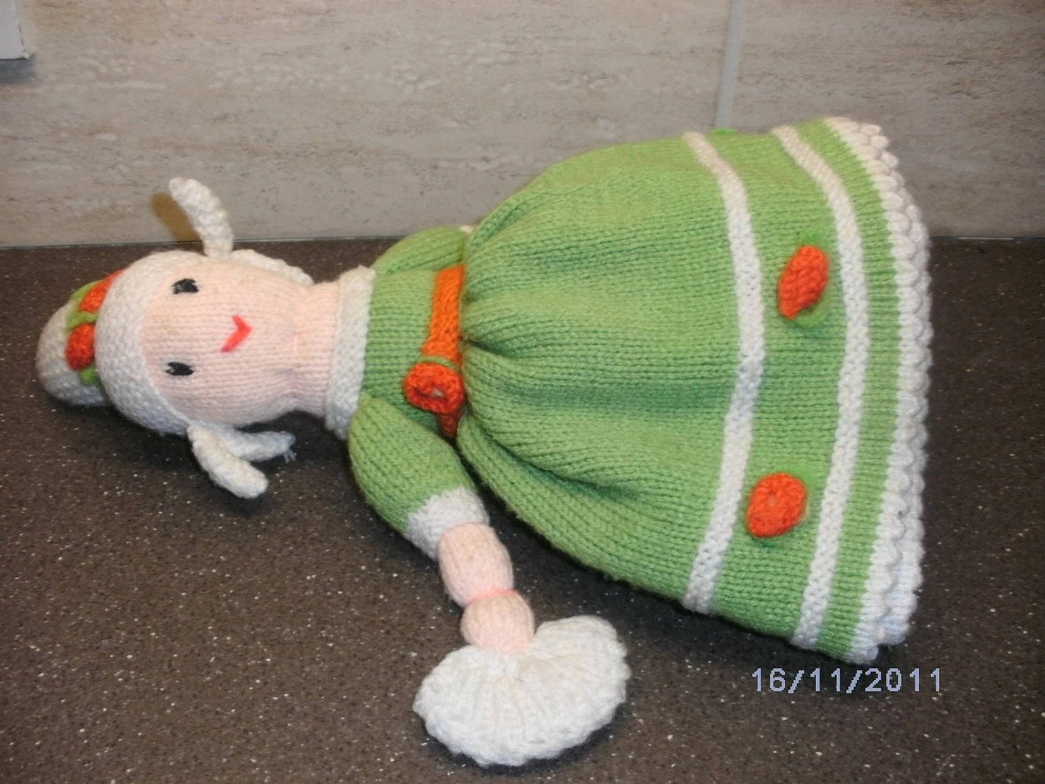 """KNITTED DOLLS.  13"""" topsy turvy, reversible, two-in-one doll."""
