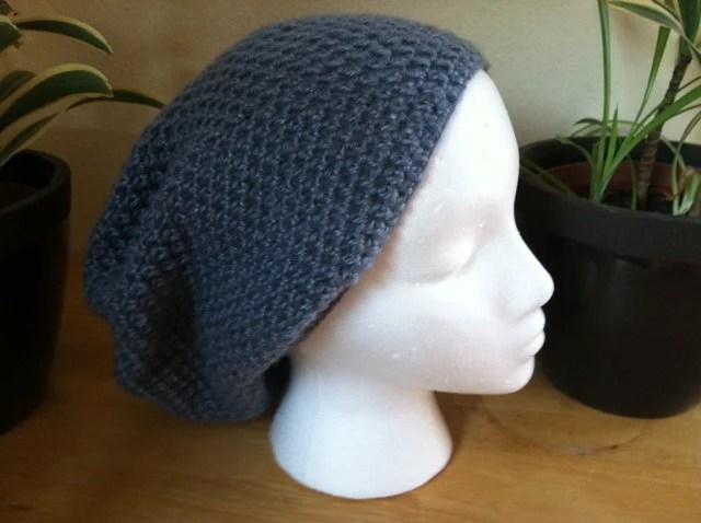 Blue Grey Slouch hat beanie beret - handmade crochet