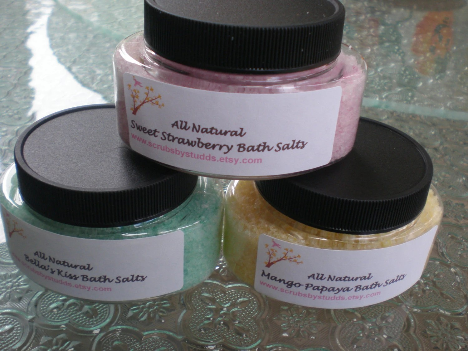 All Natural Bath Salts Gift Sets  Three 4 Ounce Jars