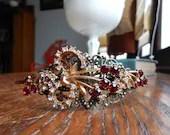 Cherry red rhinestone headband, upcycled red headband, ooak headband
