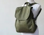 SALE - Fortuner Backpack in Army Green (Water Resistant Insulated) -Canvas Messenger / Satchel / Rucksack Bags