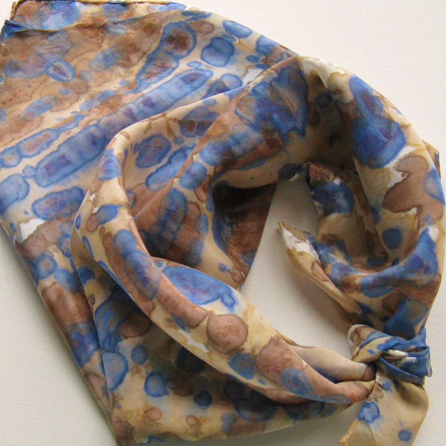 Silk Square Scarf - Lake Side - Hand Painted Ladies Scarves Bandana Tie Dyed Blue Navy Brown Tan White - Palettepassion
