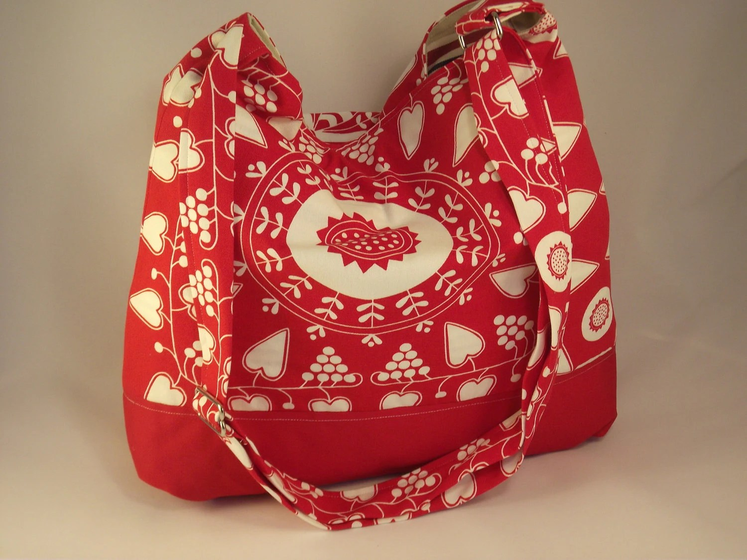 Red and white prints with hearts,Valentine canvas cotton FREE SHIPPING
