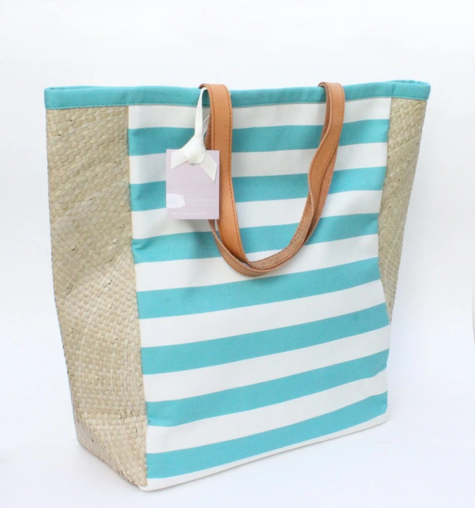 Striped Tote in Turquoise and White French Stripes - tullerie