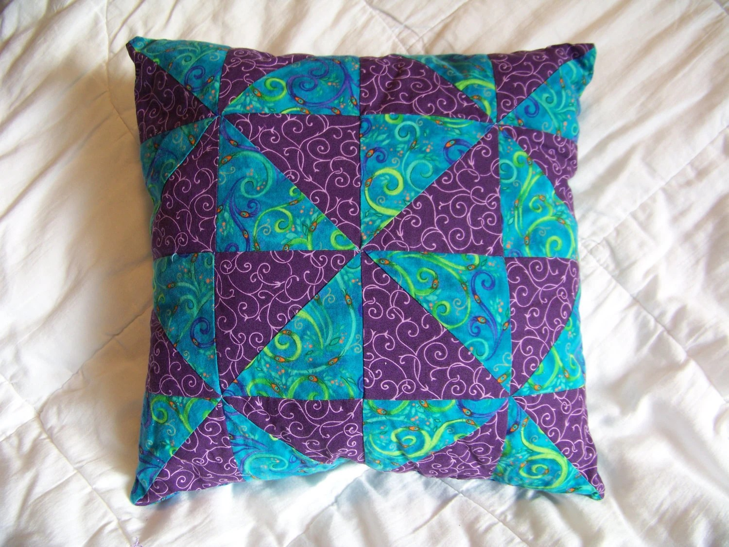 Handmade Decorative Pillow - Peacock and Purple swirls - Blue, Green, Purple, Orange