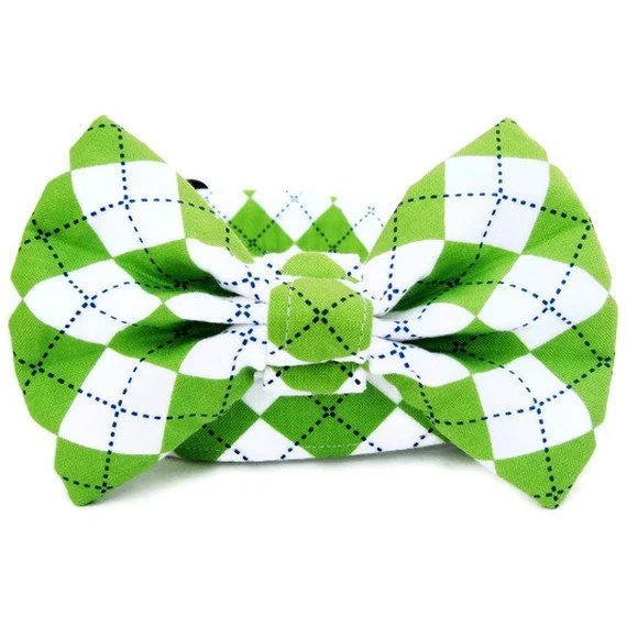 Lime Green Argyle Dog Bow Tie.....Free U. S. Shipping - BigpawCollars