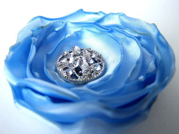 "Baby Blue Singed Hair Flower Fascinator with Rhinestone Button Center - 2.5"", Light Blue, Bling, Hair Clip"