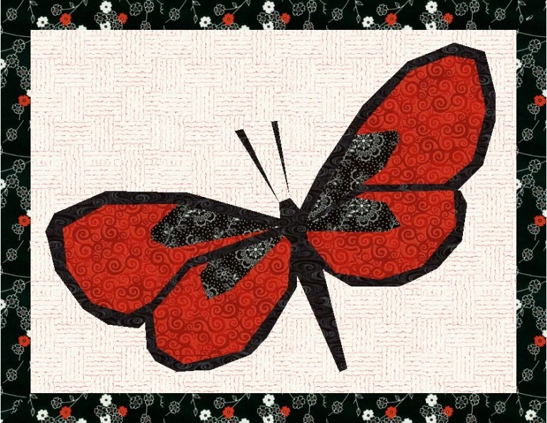 Beautiful Butterfly Foundation Paper Pieced Quilt Block Pattern Download PDF