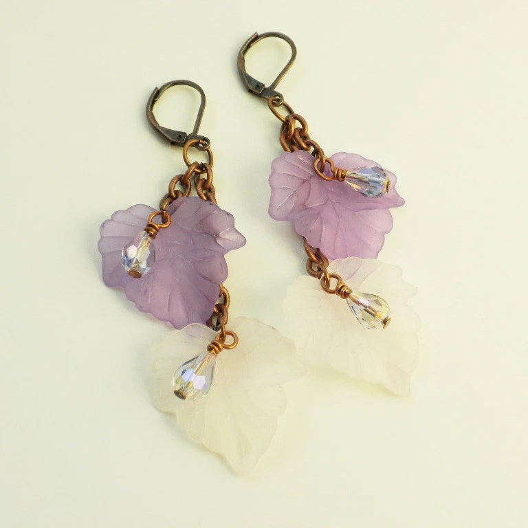 Purple Lilac Earrings Lucite Leaves Copper Chain Long Leverback