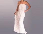 Fashion Maxi Dress Off the Shoulder Layered Ruffles White Cotton Elastane and Sheer Fabric