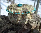 Pine Needle Box Embellished With Turquoise Beads